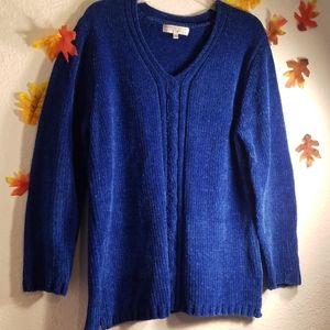 Carolyn Taylor blue sweater V neck